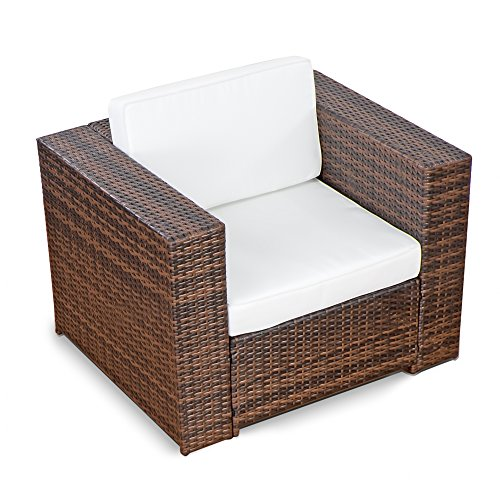 XINRO® (1er Premium Lounge Sessel - Lounge Sofa Gartenmöbel günstig Loungesofa Polyrattan XXL Rattan Sessel - in/Outdoor - handgeflochten - mit Kissen - Braun