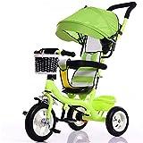 Kinder Indoor Und Outdoor Kleines Dreirad Massives Plastik-Rad-Bike 7 Monate-6 Jahre Alter Babywagen Mit Markise,Green