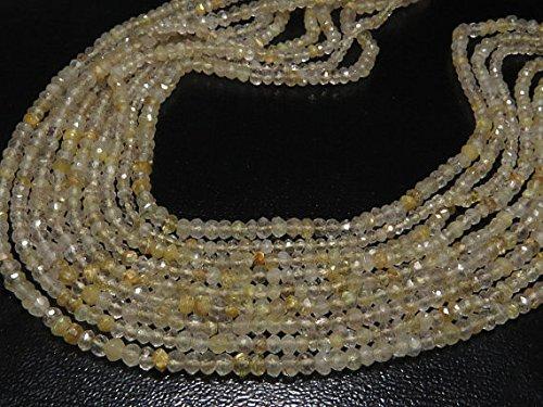 Oro quarzo rutilato–35,6cm pollici lungo filo micro sfaccettato rondelle size–3.5mm