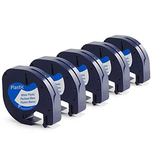 Kompatibel Dymo LetraTag Kunststoff Etikettenband S0721660 12mm x 4m mit LT-100H LT-100T Etikettendrucker Handgerät (schwarz auf weiß, 5er-Packung)