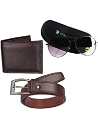Elligator Aviator Uv Protection Men's Sunglass With Belt & Wallet Combo (Sdbrn_Wlt_Belt_Sp_Sg_Combo_Multicolor_Free Size)
