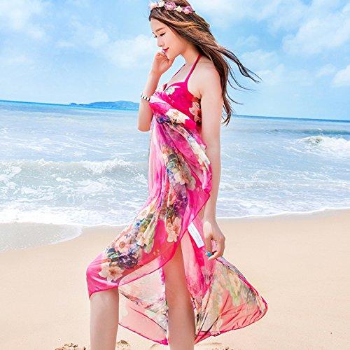 DAMILY Lieblicher Strand Schal Attraktive Blumen Wickel Kleid für Damen Rosa