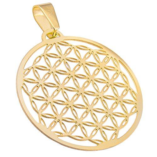 Blume des Lebens, Flower of Life Ketten-Anhänger Edelstahl Gold poliert 35mm (Anhänger Gold)