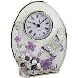 Beautiful 'Juliana,' oval, glass, clock decorated with purple flowers, crystals and a butterfly. An ideal gift for her (561CK).