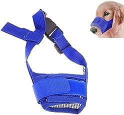 Futaba Dog Adjustable Anti Bark Mesh Soft Mouth Muzzle -Blue - Medium