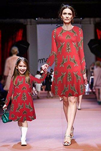 Donne Ragazza Maniche Lunghe Renna Natale Natale Stampa Regali Flared Swing Dress Top Rosso # 2