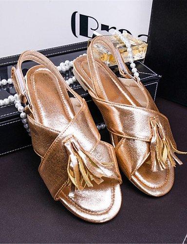 LFNLYX Chaussures Femme-Mariage / Décontracté / Habillé-Bleu / Rouge / Argent / Or-Talon Plat-Confort-Sandales-Matières Personnalisées golden