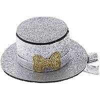 Qiuxiaoaa Pet Hat Clip Lovely Pet Dog Cat Puppy Horquilla Lentejuelas Top Hat Pinza de Pelo Accesorios de Preparación Suministros para Mascotas Gris