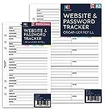 Hojas de recambio para agendas NBplanner, con formato de plantilla, con texto en inglés, para guardar la contraseña de distintos sitios webs A5: 148 x 210mm
