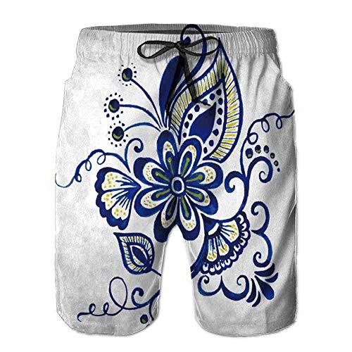 Men's Sportwear,Vector Abstract Floral Elements Print Boardshort - Floral Print Boardshorts