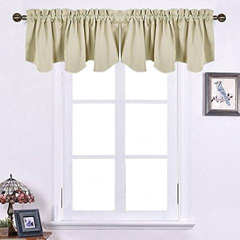 Blickdicht Vorhänge mit Stangendurchzug - PONY DANCE 2 Stücke kurzer Vorhang blickdicht hochwertig dekorativ für Wohnzimmer, Café, Bistro, Höhe 45 cm x Breite 132 cm, Beige