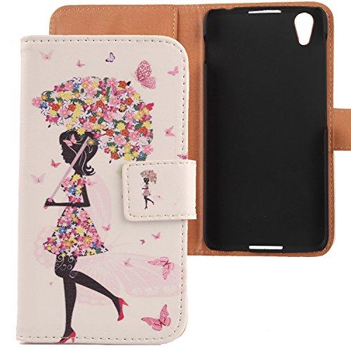 """Lankashi PU Flip Leder Tasche Hülle Case Cover Schutz Handy Etui Skin Für Blackberry DTEK 50 5.2"""" Umbrella Girl Design"""