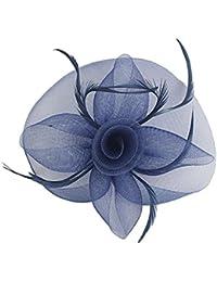 Sombrero de Pluma Fascinator Velo de Novia Horquilde Pelo Azul Marino Casco