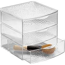 mDesign organizer - ideale porta trucchi – 3 cassetti - portaoggetti in plastica - perfetto per bagno - colore trasparente – a gocce