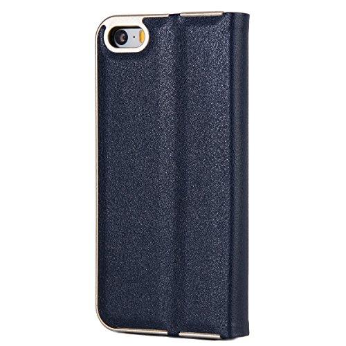 Custodia iPhone 5S, iPhone SE Flip Case Leather, SainCat Custodia in Pelle Cover per iPhone 5/5S/SE, Anti-Scratch Book Style Protettiva Caso PU Leather Flip Portafoglio Custodia Libro Protettiva Custo Blu