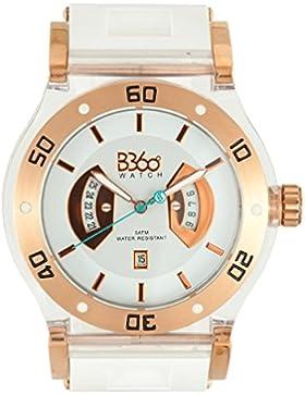 B360 WATCH Unisex-Armbanduhr Large, 5 bars Analog Quarz Silikon B CLASS WHITE GOLD CLEAR L