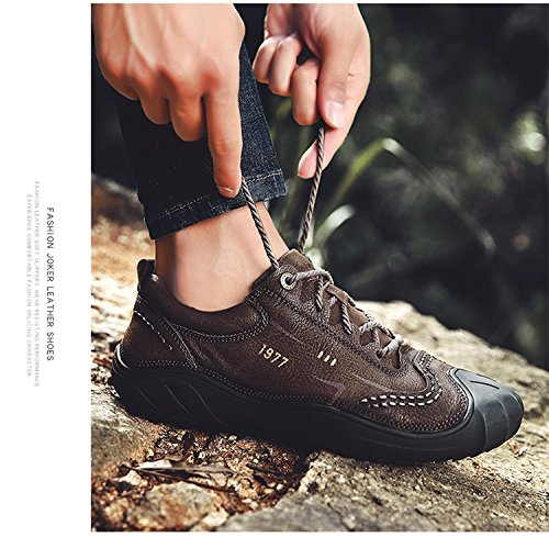 Hommes Casual Hommes Casual Chaussures Cuir Lace Up Business Mocassins plats Driving Chaussures (taille: 38 39 40 41 42 43 44) ( Color : Light brown-43 ) Light brown-39