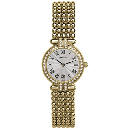 MICHEL HERBELIN WOMEN'S PERLE 24MM GOLD PLATED CASE QUARTZ WATCH 16873/44XBP08