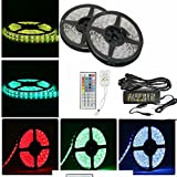 Sunface LED Strip Lights Kit - 32.8ft / 10M Flexible Strip Lights Kit 600 LEDs Units SMD 3528 RGB Color Changing LED light chain LED Strip with 44 Key Remote + 5A12V DC Non-waterproof Light Strips Supply for Garden/Home/Kitchen/Car/Bar, DIY Party Decoration Lighting