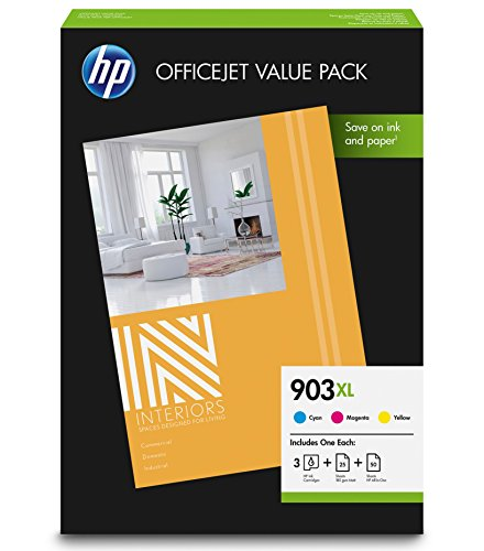 HP 903XL Pack Économique Office 3 Cartouches Grande Capacité Couleur et 75 Feuilles/A4/210 x 297 mm (1CC20AE)