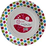 Origami Polka Dot Printed Disposable Party Paper Plate - 50 pieces