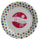 #6: Origami Polka Dot Printed Disposable Party Paper Plate - 50 pieces