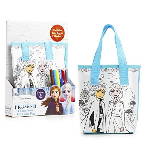 Disney Frozen 2 Tasche Zum Selber Bemalen, Kleine Tasche zum Ausmalen mit 6 Stiften Motiv von Die Eiskönigin ELSA und Prinzessin Anna, Kinder Bastelset, Kreativ Set Mädchen Geschenke ab 3 Jahre