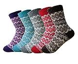 Lindo calcetines de la historieta,Oliked calcetines térmicos varios diseños / colores Adulto mujer Calcetines (5 pares), tallas EU35- 40 (Colour H (5 paio))