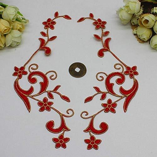 AiCheaX Spitzen basteln - YACKAPASI 5 Paare/los Eisen auf Gold Spitzenborte 3D gestickte Patches Spiegel Paar Blume appliziert DIY Zubehör 1722cm - (Farbe: rot) -