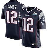 Men's New England Patriots Trikot 12 Tom Brady Navy Super Bowl LII Jersey Size 40(M)