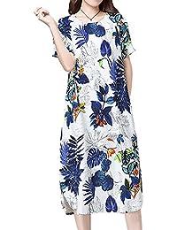 P Ammy Fashion Women s Oversized Cotton   Linen Floral Print Short Sleeves Long  Dress eda340102168