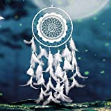 honearn Dream Catcher, handgefertigt Medium Large Weiß Traumfänger mit Natur Feder für Wand hängende Dekoration Ornament (weiß)