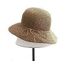 Ogquaton Sombrero de Paja Mujer Verano Sombrero para el Sol Gorra de Playa de ala Ancha para niños Actividades al Aire Libre Uso 1 Pieza de Color Caqui