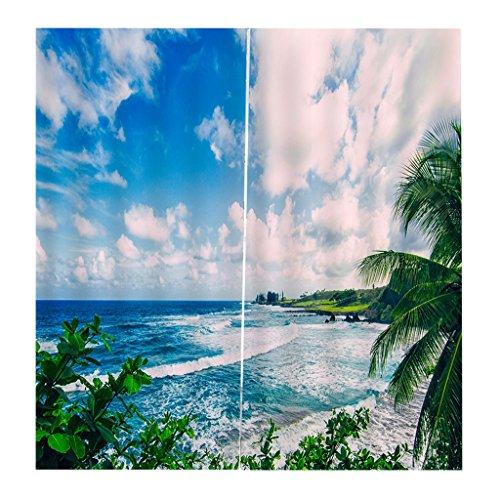 hang Schal Verdunkelungsvorhang BLICKDICHT für Wohnzimmer Schlafzimmer, Auswahl - Himmel und Meer (Küche Vorhänge Meer)