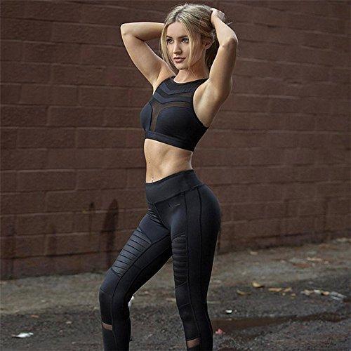 Shineshae Damen Sport BH Run Jogging Halter Bustier Mesh Perspektive Patchwork Kurz Tops Oberteile Unterwäsche Laufen Fitness Yoga Sport Weste Bra BH - 3