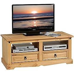 IDIMEX Meuble TV Tequila Banc télé de 120 cm en Bois Style Mexicain avec 2 tiroirs et 2 niches Ouvertes, en pin Massif Finition teintée/cirée