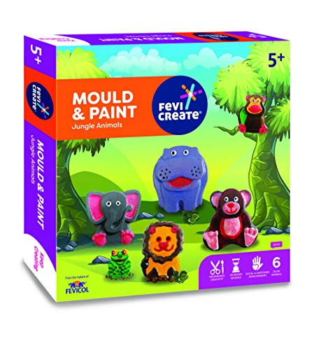 Pidilite Fevicreate DIY Mould & Paint Jungle Animals Toy kit for Children