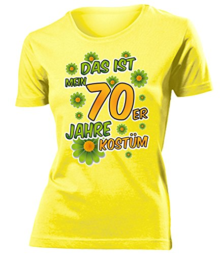 70er Jahre Kostüm Frauen T-Shirt Karneval Fasching Motto Schlager Party Outfit Schlagershirt Faschingskostüm Schlagerkostüm Oberteil Accessoires Jacke (Ideen 70er Motto-party Outfit)