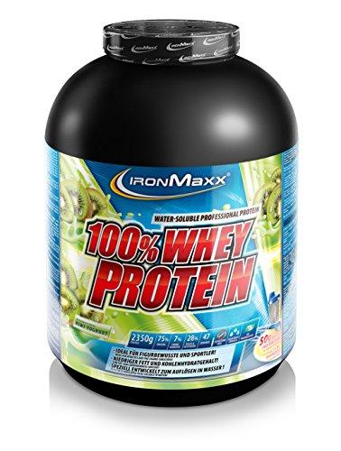 IronMaxx 100% Whey Proteinpulver – Wasserlösliches Whey Protein für Eiweißshake – Proteinshake mit Kiwi-Joghurt Geschmack – 1 x 2,35 kg Dose