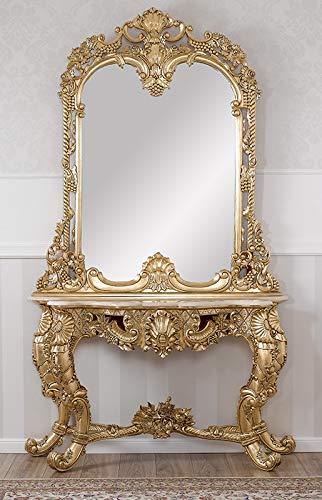 Simone Guarracino Konsolentisch mit Spiegel Noelia Französischer Barock Stil Blattgold Marmorplatte Creme Crystal Sw Steine