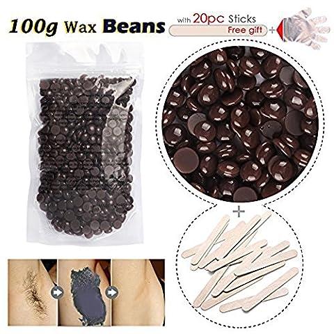 Haarentfernung Wachsbohnen, Wax Beans Premium Enthaarungswachs Hair Removal Haarloser Sommer LuckyFine Heisswachs Intim, Beine, Arme ,Gesicht temperament fashion (Schokolade)