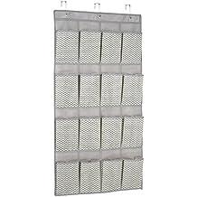 InterDesign Chevron Soft Storage Organizzatore Scarpe da Porta 16 Tasche, Tessuto, Beige, 56x0.25x108.5 (3 Appartamento Porta Panel)