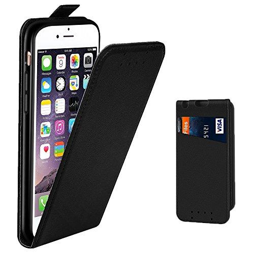 Galleria fotografica Custodia iPhone 6 - SUPAD® Ultra sottile Custodia Flip Case In Pelle per Apple iPhone 6/6S 4,7 (Nero)
