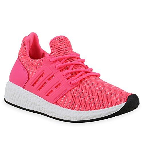 Damen Herren Laufschuhe Runners Bequeme Sportschuhe Profilsohle Neonpink Muster