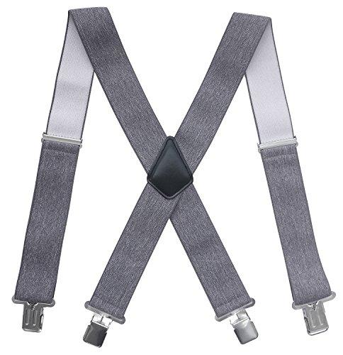 Chalier Elastische 5cm breite Hosenträger, 4 Starken Clips X-Form, Herren & Damen