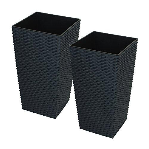 2x CrazyGadget® grande ratán de alto maceta de plástico cuadrada Jardín Maceta de flores de interior y exterior, plástico, negro, 11.4L