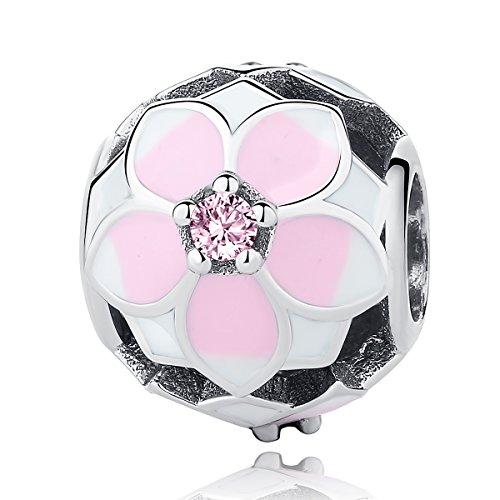 Charm a forma di fiore di magnolia, con smalto color ciliegia pallido e zirconia cubica rosa, charm in argento sterling 925, adatto per bracciali pandora e altri braccialetti europei