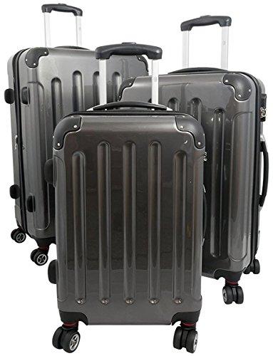 3tlg. Polycarbonat Hartschalen Koffer Trolley Reisekoffer Reisetrolley Handgepäck Boardcase Mauritius (Anthrazit)