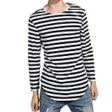 Hommes T-shirt, Malloom 2017 Tops décontracté Blouse Automne hiver Chemise à rayures à manches longues (L, Marine)