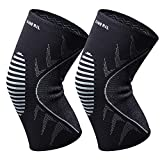 OMERIL Knee Supports, 2 Pack Breathable Knee Compression Sleeves for Men & Women, Knee Support Braces for Running, CrossFit, Basketball, Weightlifting, Gym, Workout, Sports Knee Joint Pain Prevention